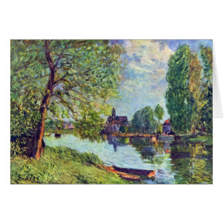 River landscape at Moret-sur-Loing by Sisley Stationery Note Card