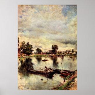 River landscape by Giovanni Boldini Poster
