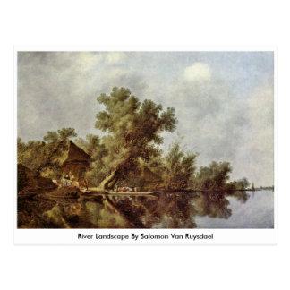 River Landscape By Salomon Van Ruysdael Postcard