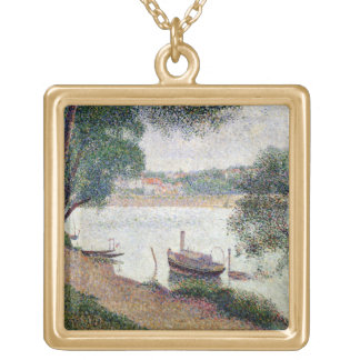 River Landscape with a boat Gold Plated Necklace