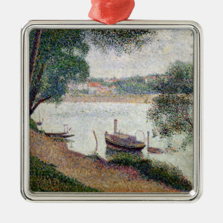 River Landscape with a boat Metal Ornament