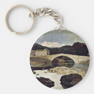 River Landscape With Cattle Herd By John Sell Cotm Key Chain