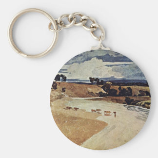 River Landscape With Cattle Herd By John Sell Cotm Keychain