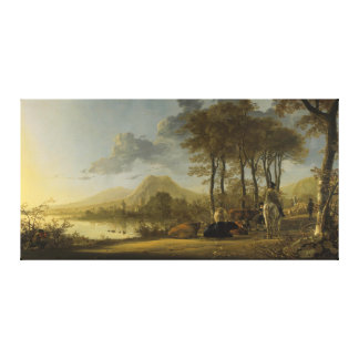 River Landscape with Horseman and Peasants Canvas Print