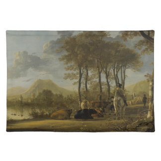 River Landscape with Horseman and Peasants Cloth Placemat
