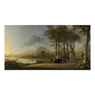 River Landscape with Riders Poster