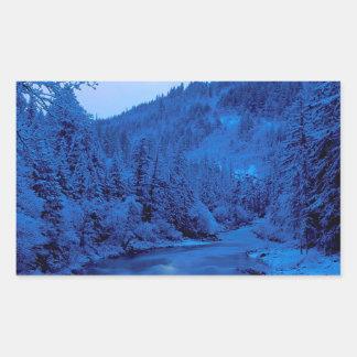 River Light Moon Scott Klamath Forest Rectangular Sticker