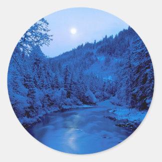 River Light Moon Scott Klamath Forest Classic Round Sticker