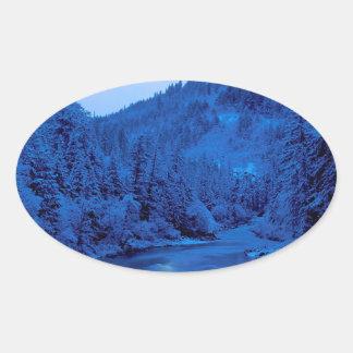 River Light Moon Scott Klamath Forest Oval Sticker