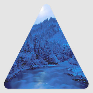 River Light Moon Scott Klamath Forest Triangle Sticker
