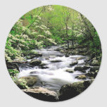 River Middle Prongdogwoods Smoky Tennesse Round Stickers