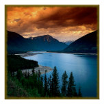 River Mountain View Canvas Poster