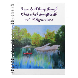 River Oil Painting with Scripture Notebooks