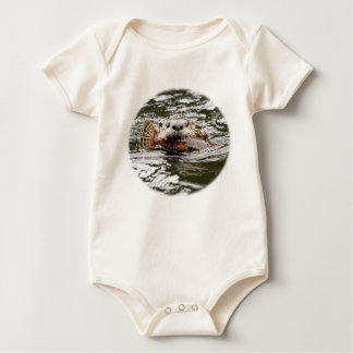 River Otter and Fish Baby Bodysuit