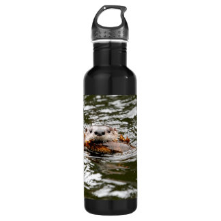 River Otter and Fish Stainless Steel Water Bottle