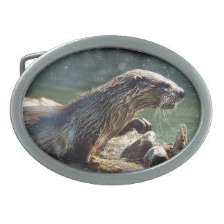 River Otter Animal-lover's Wildlife Photo Belt Buckle