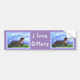 River Otter Art Bumper Stickers