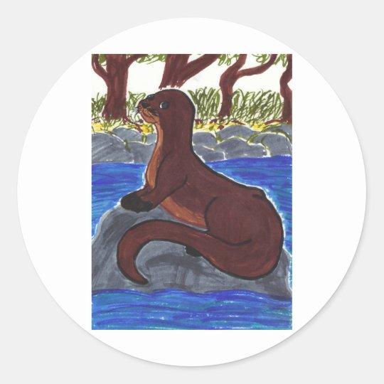 River Otter Classic Round Sticker