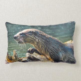 River Otter Design for Animal-lovers Lumbar Pillow