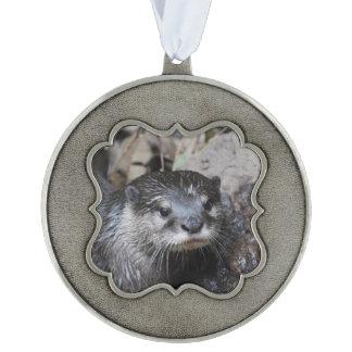 River Otter Scalloped Pewter Ornament