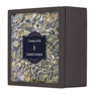 River Pebbles And Water Wedding Ring Box