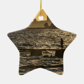 River Plater River Scene at Montevideo Ceramic Ornament