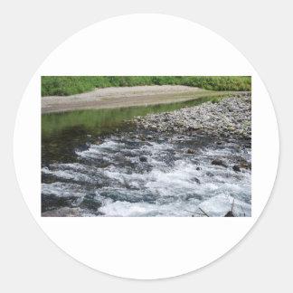 River rapids over rocks classic round sticker