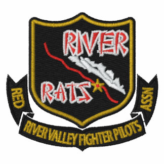 RIVER RAT Embroidered  F-16 Golf Polo (Dark Shirt)