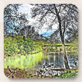 River Reflections Cork Coasters