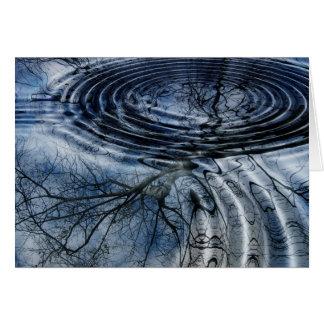 River Ripples Rings Birch Tree Branch Reflection Card
