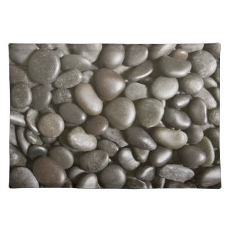River Rock Black Stone Background - Customized Cloth Placemat
