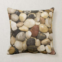 River Rock Stone Background   Customized Template Throw Pillow