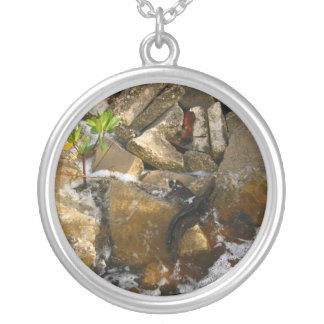 River Rocks Cement Blocks and Mangrove Seedling Round Pendant Necklace
