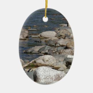 River rocks ceramic ornament