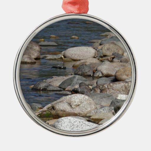 River rocks round metal christmas ornament
