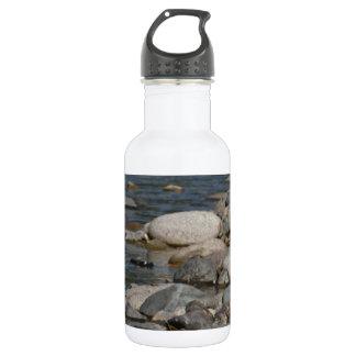 River rocks stainless steel water bottle