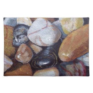River Rocks, Stones: Color Pencil Realism Art Placemats