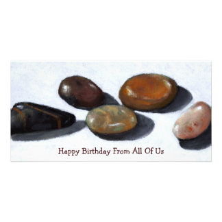 RIVER ROCKS, STONES: OIL PASTEL ART: birthday Card