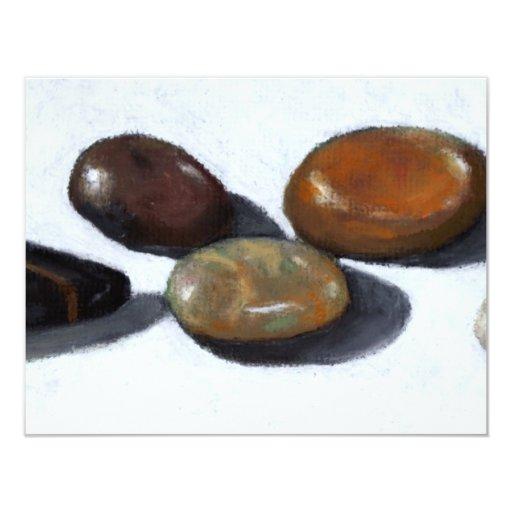 RIVER ROCKS, STONES: OIL PASTEL ART CARD