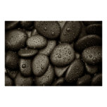 River Rocks with Rain Drops Poster