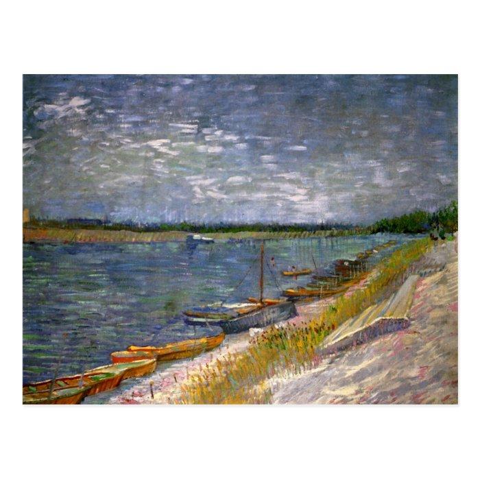 River & Rowing Boats Van Gogh Fine Art Postcard