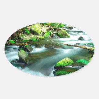 River Runningmount Hood Forest Oregon Oval Sticker