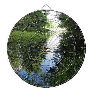 River runs through dartboard with darts