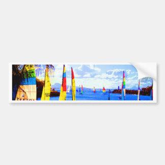 river scene in watercolor effects bumper sticker