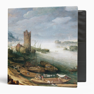 River Scene with a Ruined Tower 3 Ring Binder