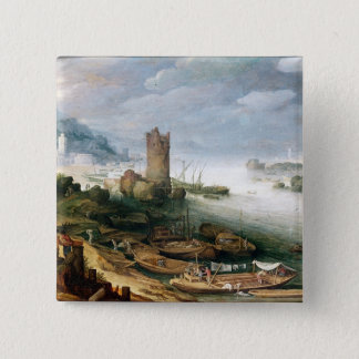 River Scene with a Ruined Tower Button