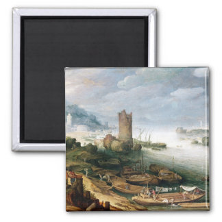 River Scene with a Ruined Tower Magnet