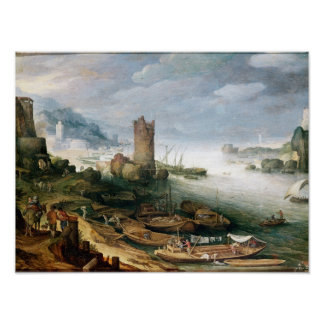 River Scene with a Ruined Tower Poster