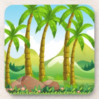 River scene with coconut trees coaster