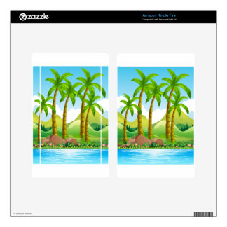 River scene with coconut trees skins for kindle fire